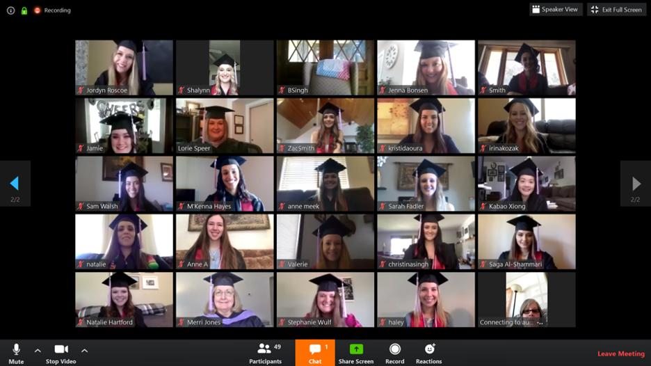 Screenshot of graduates using a Zoom call