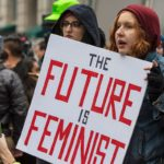 The future is feminist sign held by protestor