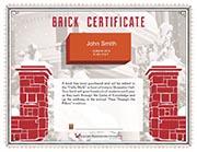 brick certificate