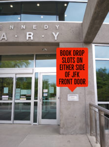 Arrow pointing to the book drop slot to the side of the JFK Library doors