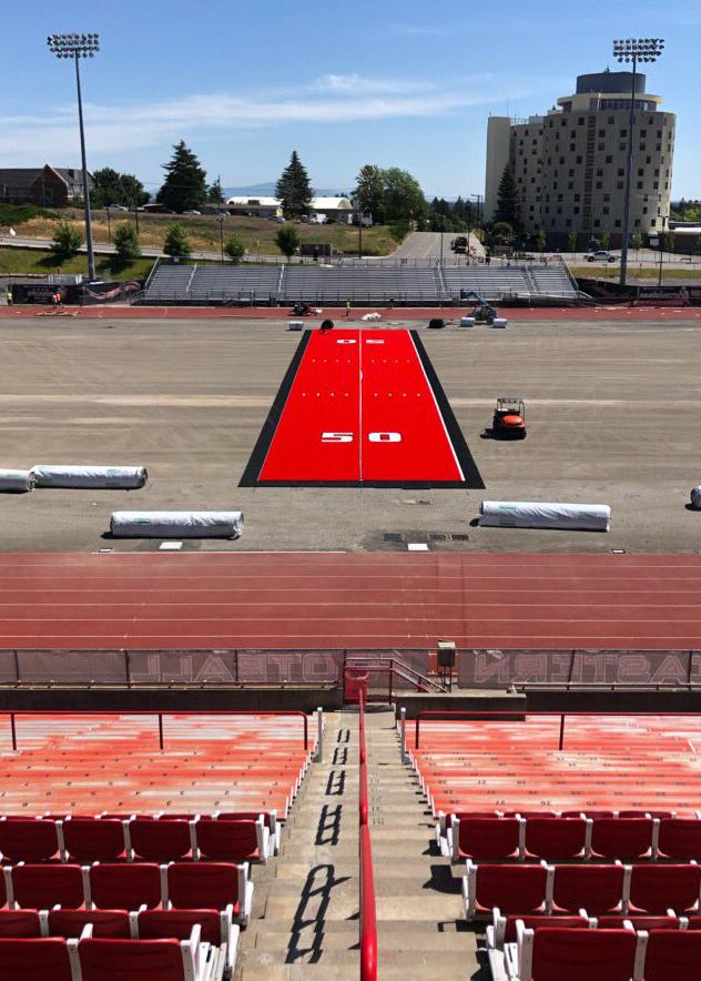 EWU's new red turf installation